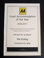 AA Award for Guest Accommodation of the Year 2016-17 Scotland