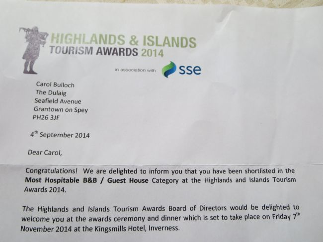We are finalists in the Highlands and Islands Tourism Awards!