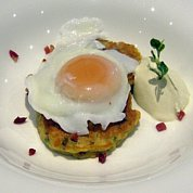 Hotcakes with Bacon and Parsley and a perfectly poached egg from our hens